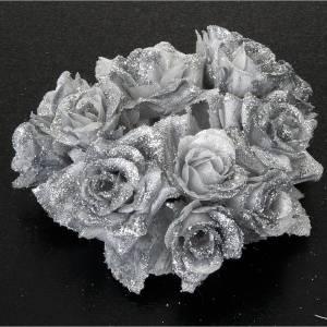 Dekoracje bożonarodzeniowe do domu: Stroik ozdobny do świecy bożonarodzeniowej róże brokat posrebrzany