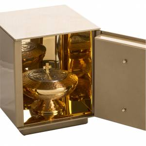 Tabernacle d'autel en fer Dernière Cène en bronze doré s4