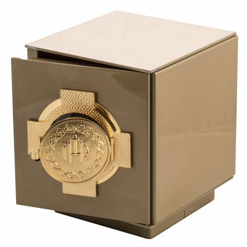 Tabernacolo da mensa Croce IHS bronzo dorato cassa ferro s2