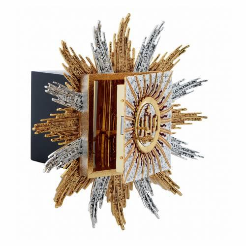 Tabernacolo da parete ottone argento oro JHS raggi s4