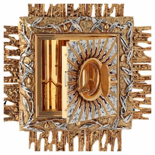 Tabernacolo da parete ottone fuso oro argento JHS s5