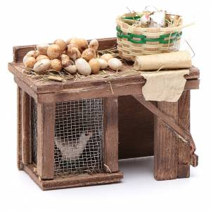 Table avec cage poule oeufs 9x8x5,5 cm crèche napolitaine s3