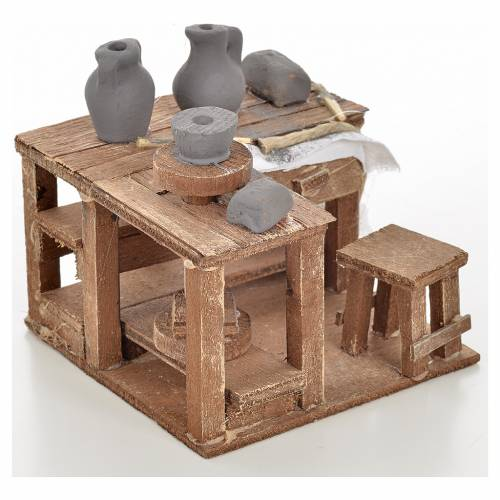 Table du potier miniature pour crèche Napolitaine 9x9x6 s2