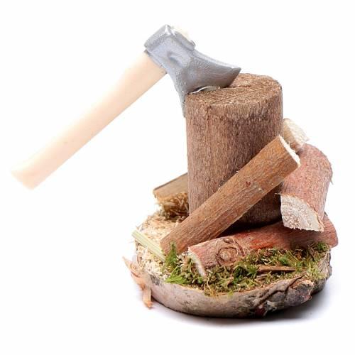 Taglialegna su tronco accessori presepe s1