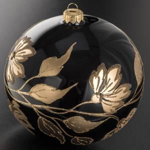 Tannenbaumkugeln: Tannenbaumkugel schwarzem Glas goldenen Blumen, 15cm