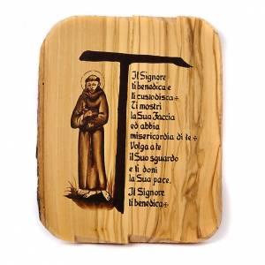 Tau bénédiction, Saint Frncesco, bois d'olivi 16x19 s1