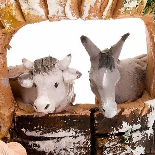 Teja terracota Natividad buey y asno s3