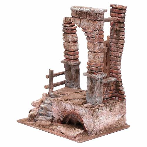 Tempio con colonne in mattoni 25x20x15 cm s2