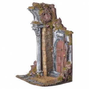 Temple with brown door for nativities, 20x20x40cm s2