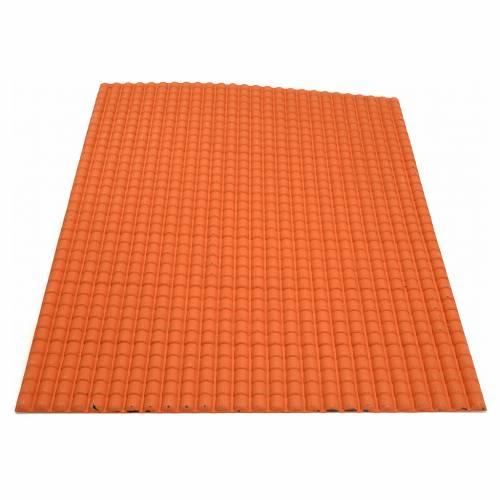 Toit en tuiles: plaque plastique couleur terre cuite de 50x70 cm s2