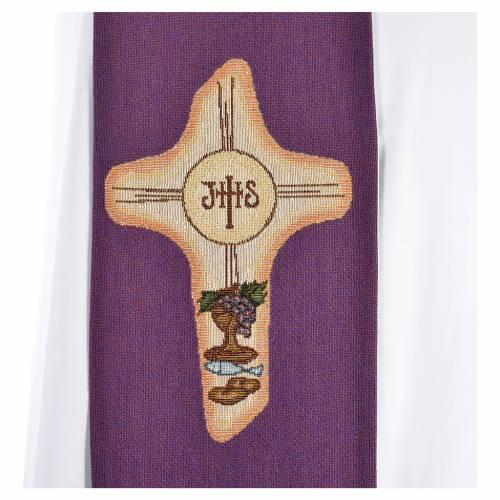 Étole liturgique croix IHS polyester coton lurex s8