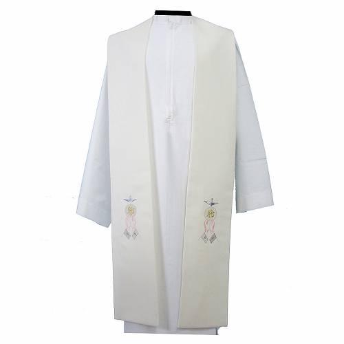 Étole toile polyester mains avec hostie et colombe s1