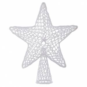Christmas tree ornaments in wood and pvc: Topper for Christmas tree with embroidered star, white