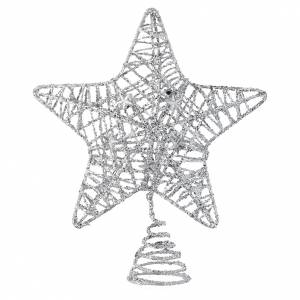 Christmas tree ornaments in wood and pvc: Topper for Christmas tree with glittered silver star