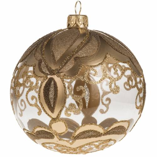Transparent and gold Christmas blown glass ball 10cm s1
