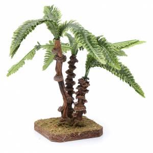 Tre palme su base unica e foglie modellabile accessorio per presepe s2