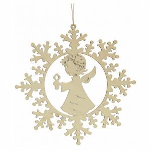 Tree decoration, wooden snowflake with candle and angel s2