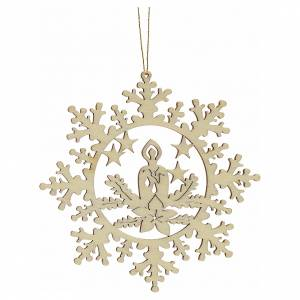 Christmas tree ornaments in wood and pvc: Tree decoration, wooden snowflake with candle