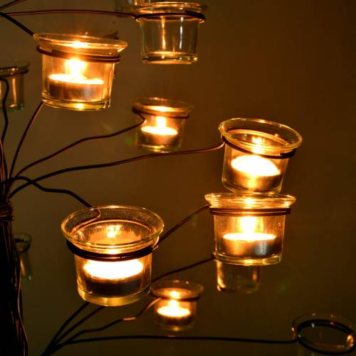 Tree tealight holder with transparent glasses s3