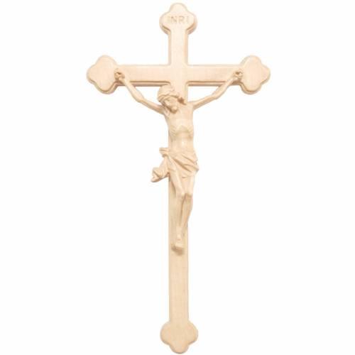 Trefoil crucifix in natural wax Valgardena wood s1