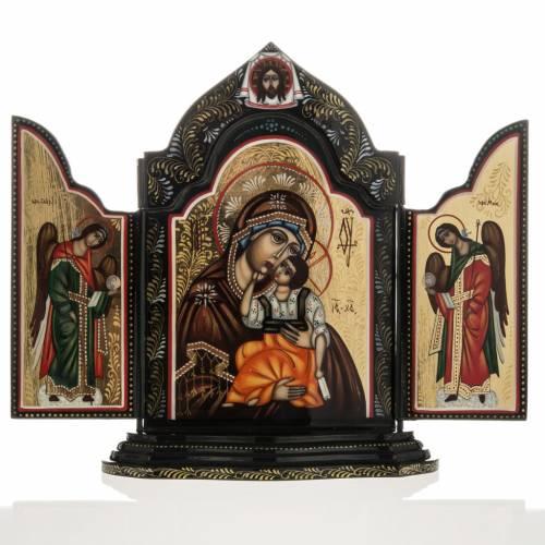 Tríptico ruso Mstjora Madre de Dios Odighitria 17,5x21 s1