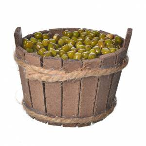Miniature food: Tub, made of wood with olives