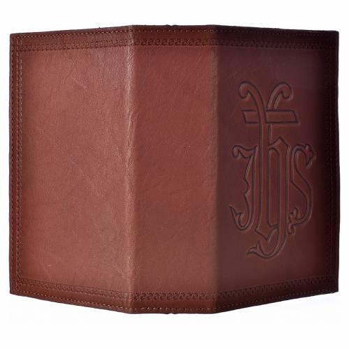 Étui liturgie heures 4 vol. cuir brun IHS s2