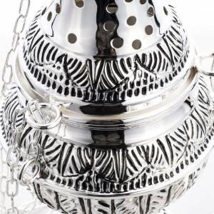 Turiboli e navette: Turibolo con navetta ovale ottone fuso cesellato argentato