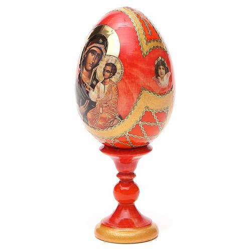 Uovo legno découpage Russia Iverskaya h tot. 13 cm stile Fabergé s2