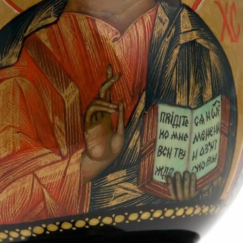 Uovo icona Palekh Madonna Kazan e Pantocratore 17 cm 7