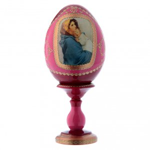 Uovo rosso in legno russo stile Fabergè La Madonnina h tot 16 cm s1