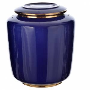 Funeral products: Urn for ashes in enamelled porcelain, Blue gold model