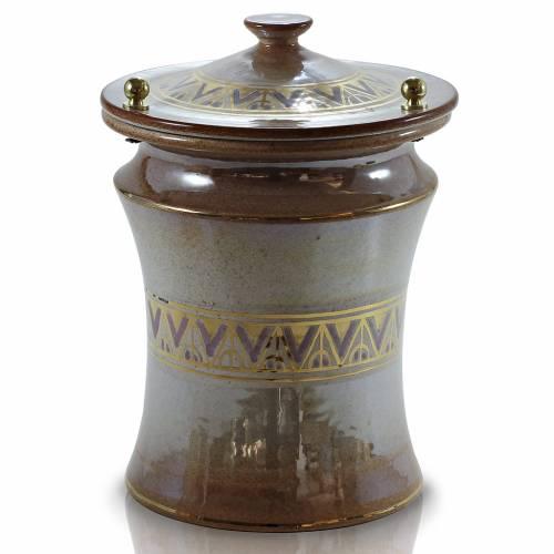 Urna cineraria ceramica pomelli ottone iris con greca s1