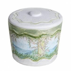 Urna cineraria marmo sintetico decori a mano s1