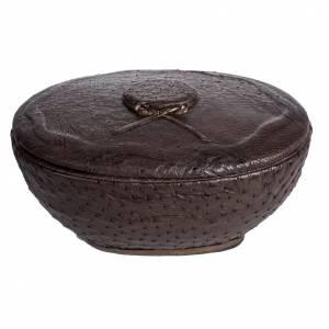 Urne funéraire ronde marbre recouverte en cuir s1