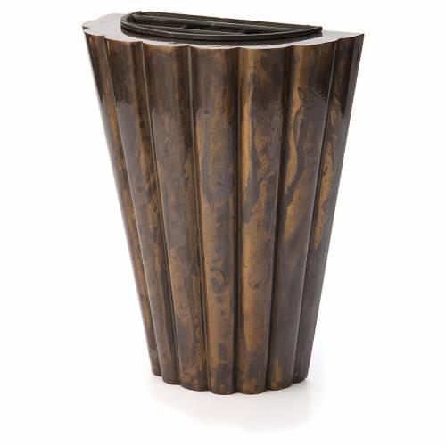 Vase fleur cimetière laiton bronzé lignes droites s2