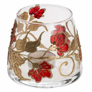 Vaso Porta vela de navidad, vidrio rojo y dorado s1