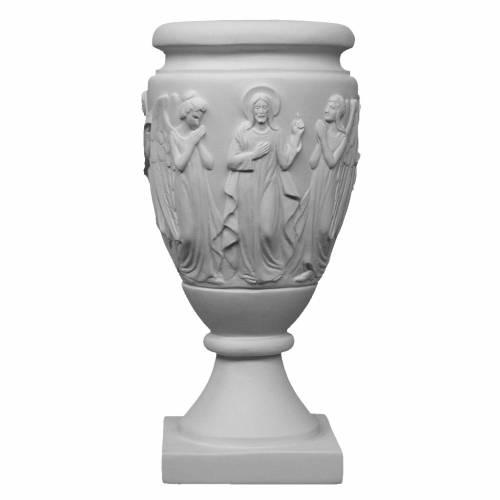Vaso portafiori marmo sintetico Angeli e Cristo s1