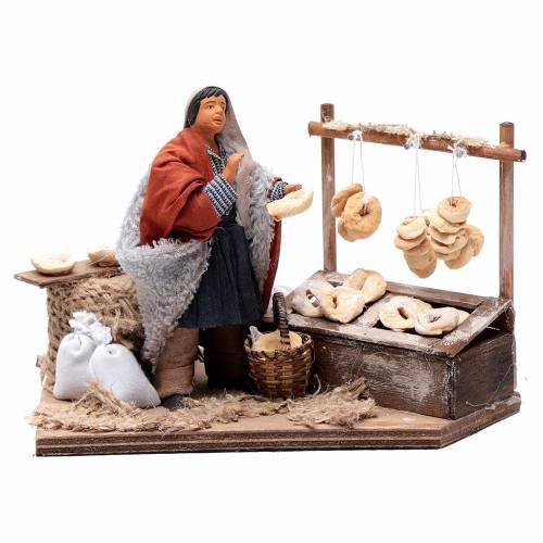 Vendeur de taralli avec banc 12 cm mouvement crèche Naples s1