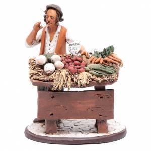 Presepe Terracotta Deruta: Venditore ortaggi in terracotta per presepe Deruta 18 cm