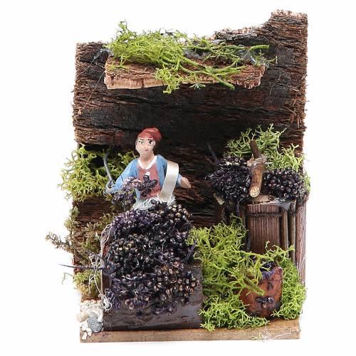 Venditrice di uva cm 4 movimento per presepe s5