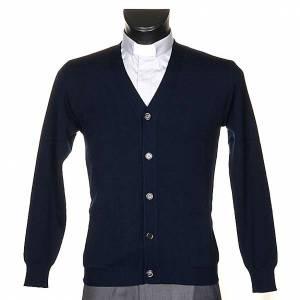 Veste en laine avec boutons,bleu s1