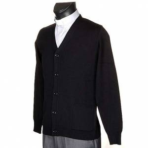 Veste en laine avec boutons,noir s2