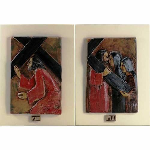 Via Crucis 14 stations majolique cuir sur bois ivoire s5