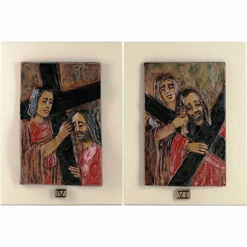 Via Crucis 14 stations majolique cuir sur bois ivoire s4