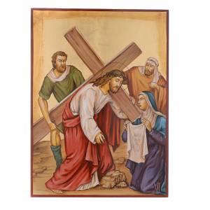 Via Crucis 15 Stazioni icone dipinte a mano 44x32 cm Romania s6