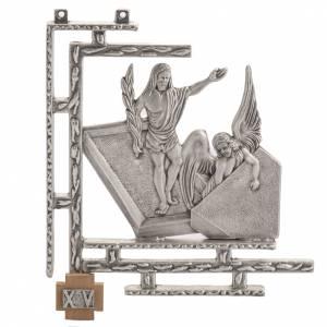 Via Crucis 15 stazioni in bronzo argentato crocetta legno s1