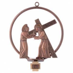 Via Crucis 15 stazioni tonda bronzo ramato s4