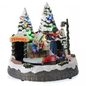 Villages de Noël miniatures: Village blanc de Noël avec train en mouvement 20x20x20 cm