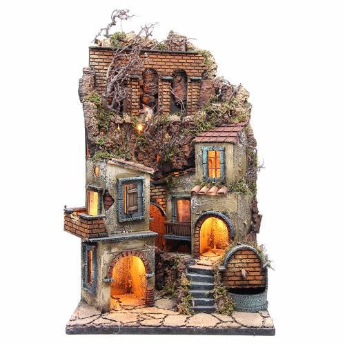 Village crèche napolitaine avec fontaine et éclairage 60x40x40 cm s1